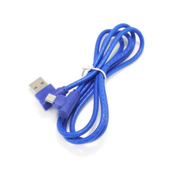 کابل Micro USB سرکج پکدار آبی