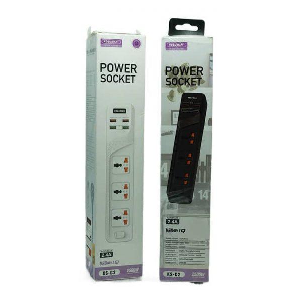 شارژر فست USB چندراهی برق کلومن C2 مشکی